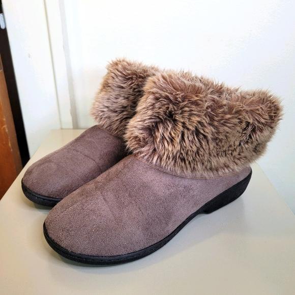 Isotoner Faux Fur Women's Slipper Booties, Sz 7.5